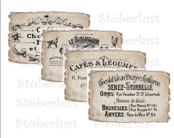 Instant DOWNLOAD 4 old french Advertisinglabel on a shabby background