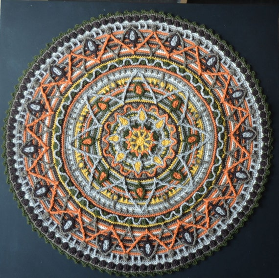 Crochet Mandala Rug Round Placemat For Meditation Decoration