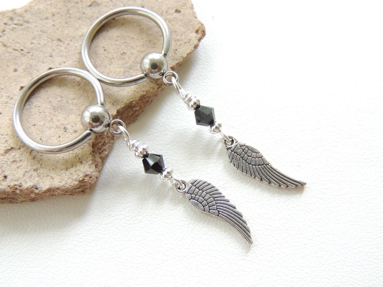 Angel wing nipple ring set of 2 long dangle nipple rings for Angel wings nipple piercing jewelry