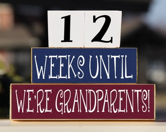 Grandparents Countdown Blocks – Pregnancy Countdown – Grandma Pregnancy Announcement – Gift