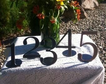 Freestanding Table numbers set of 5 metal