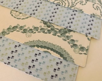 "Placemats, 12"" x 16"", Set of 4, Reversible, Cotton, Blue and Green, Paws, Shells-Free Shipping"
