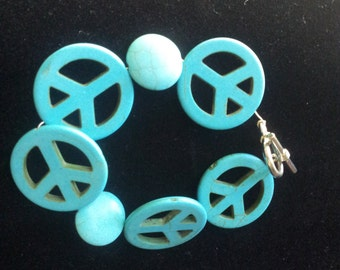 Bracelet Glass Bead Peace Signs