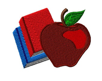 Apple Books Back to School Machine Embroidery Design - School Machine Embroidery design - apple machine embroidery design