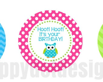 Printable Owl Birthday Party Cupcake Toppers