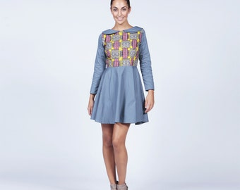 Blue dress, Short dress, Peter Pan Dress, Blue Peter pan dress with Ankara, Peter pan collar dress,