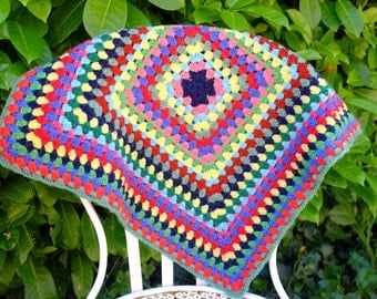 gipsy inspiration Bohemia, crochet, patchwork, knitted wool pillow, sewing