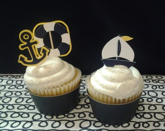 Nautical Boy Navy Yellow White Cupcake Toppers for Your Little Sailor's Birthday or Baby Shower