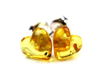 Heart Stud Earrings - Heart Earrings - Amber Stud Earrings Heart - Amber Heart Earrings - Valentine's Day Gift - Heart Jewelry -DO-154
