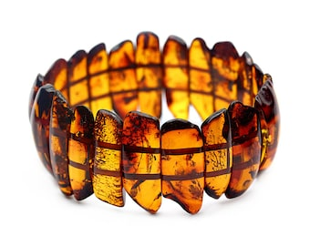 Cognac Amber Bracelet - Amber Bracelet - Amber Beaded Bracelet - Stretch Bracelet - Statement Bracelet - Amber Statement Bracelet -DO-284
