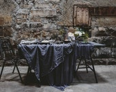 FREE WORLDWIDE SHIPPING! Linen tablecloth. Dark grey/gray/graphite washed large linen tablecloth.