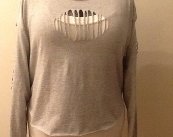 Gray long  sleeve cut up t-shirt with longer back
