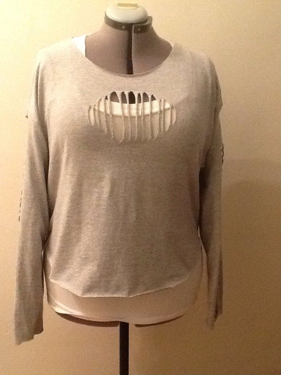 Gray Long Sleeve Cut Up T Shirt With Longer Back