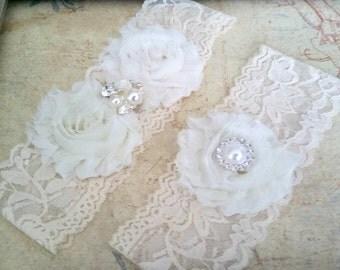 Bridal Garter Set, Ivory Stretch Lace Garter, Keepsake Garter, Toss Garter, Ivory Wedding Garter Set, Bridal Garter