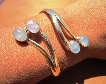 Bohemian Bangle Bracelet Gold Brass Moon dual gemstone - Adjustable Bangle cuff