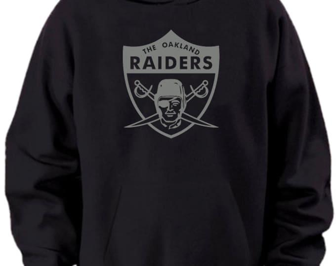 Oakland Raiders Vintage Style Logo Hooded Sweatshirt Black Silver
