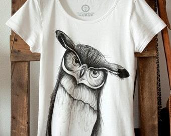 Handmade shirt with textiel marker  'Owl' size 34