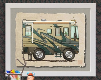 Big RV happy camper art print Cute whimsical recreational vehicle and camper prints add fun to trailer or RV as 8x10 & 13x19 wall decor