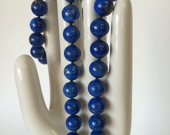 Untreated Genuine Lapis Bead Necklace with 14kt Clasp