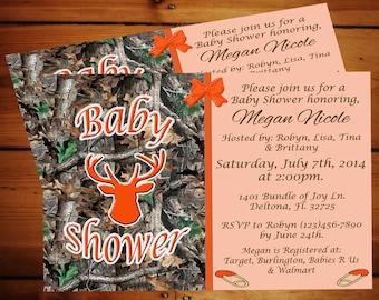 Hunter Orange Camo Baby Shower Invitation.......Printable Digital Download