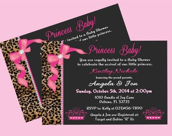 cheetah and pink princess baby shower invitation front print only