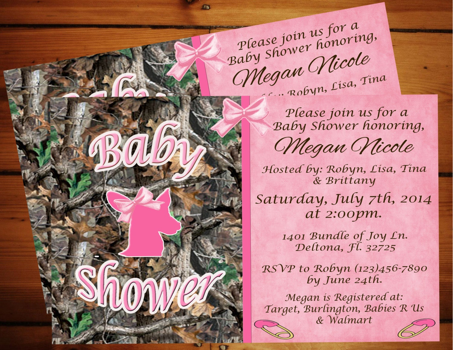 sweet pink camo baby shower invitation printable
