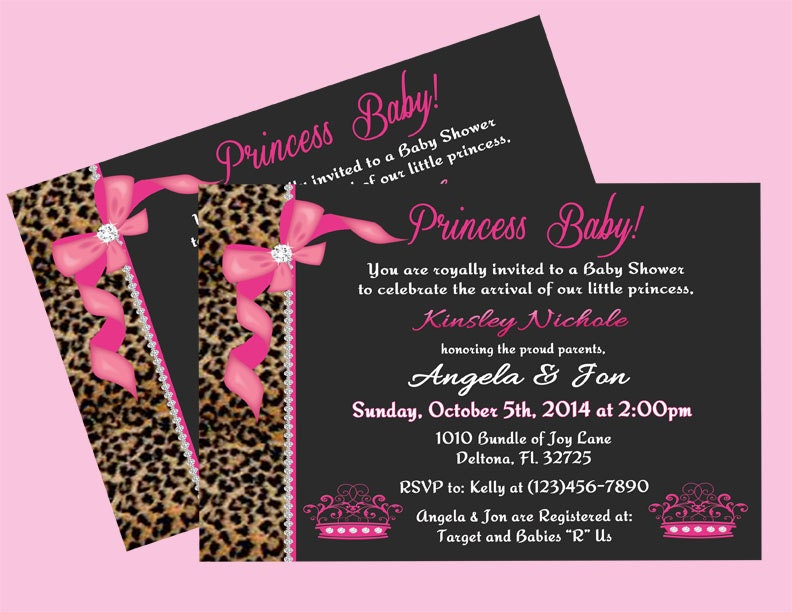 cheetah and pink princess baby shower invitation front print