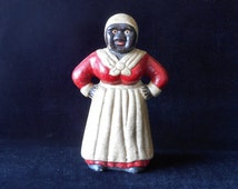 Aunt Jemima Mammy Cast Iron Bank 8 Inch with Rare White Head Scarf Original Paint