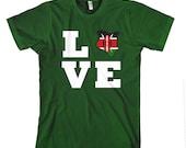 Kenya Country Love Heart  Cotton Unisex Adult T-Shirt Tee