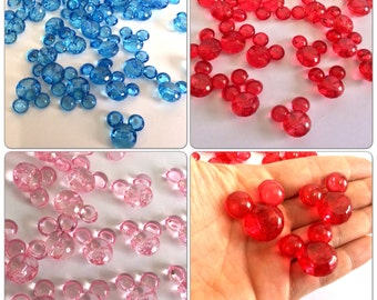 Lot of 6 Mickey and Minnie Mouse acrylic crafting beads med - chunky Beads, mickey head bead