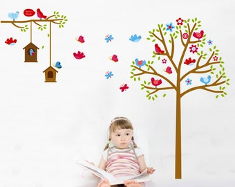 Brids and Tree Wall Decal For Baby Room,Butterfly Tree Wall Stickers,Animal Wall Decals Quote,Cute Kids Room Decal