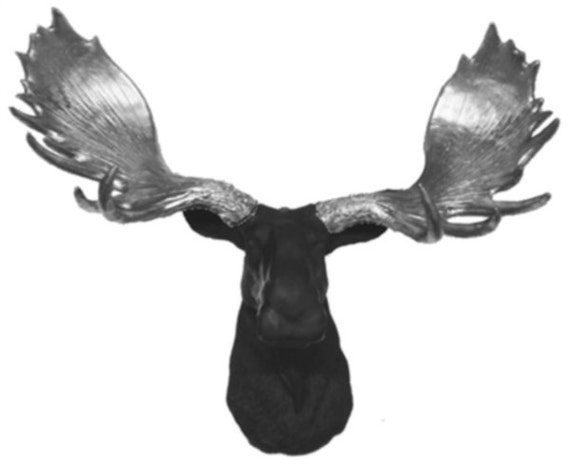 Black plus silver moose head mount wall statue faux taxidermy - Fake moose head mount ...