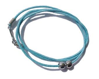 "Sky Blue Waxed Cotton Cloth Cord Choker /  Necklace  (12"", 14"", 16"", 18"")- R003BU"