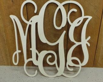 24 Inch Wooden Monogram - Unfinished Vine Script Monogram - Wedding Guest Book - Wedding Monogram - Monogram Door Hanger - Wood Letters