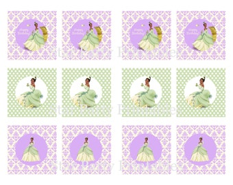 Princess & the Frog Party cupcake toppers, Tiana, Disney Princess, cupcake toppers, Kid's Birthday Party