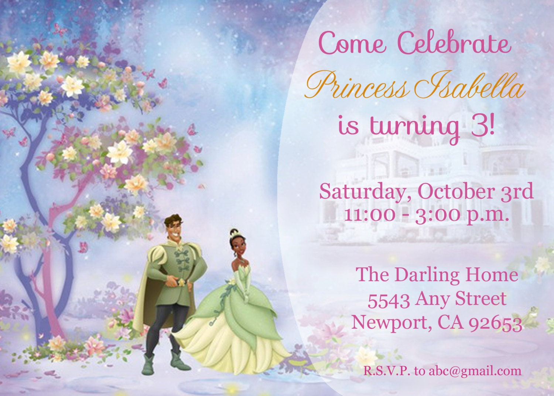Princess the Frog Invitation Tiana Disney Princess – Princess Tiana Birthday Invitations