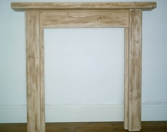 Hand Made Rustic Solid Wood Chunky Pine Fire Surround 017