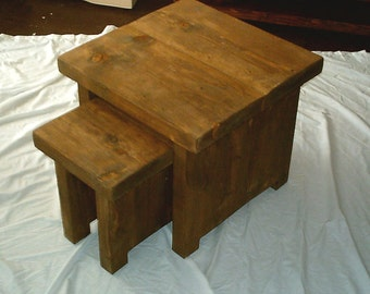 Hand Made Rustic Nest of Tables - stained in jacobean oak 021