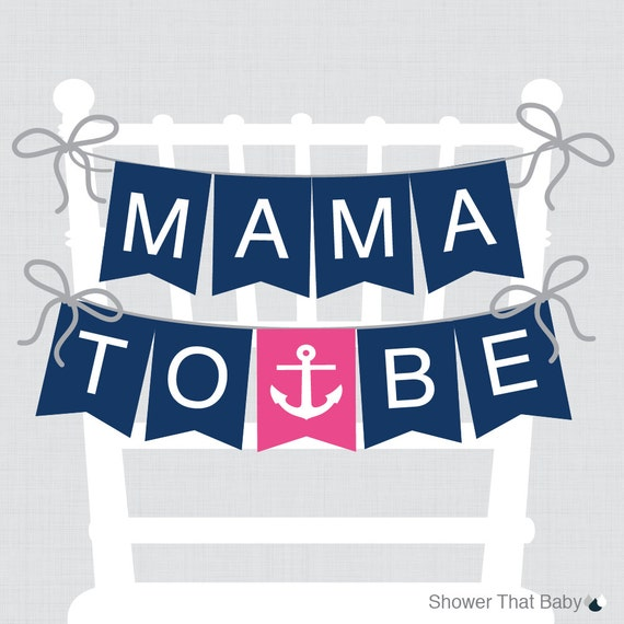 Nautical Baby Shower Chair Banner Mama To Be Mom