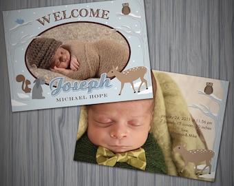 Baby Boy Woodland Photo Announcement/ DIY printable