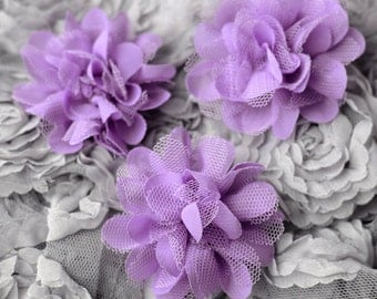 3 Chiffon Tulle Chic Rose Flower Lavender Purple Silk Bridal Baby Hair Comb Bow Headband Clip Free Shipping 20USD or more SF044
