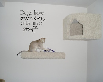 Dogs have owners cats have staff vinyl decal/sticker