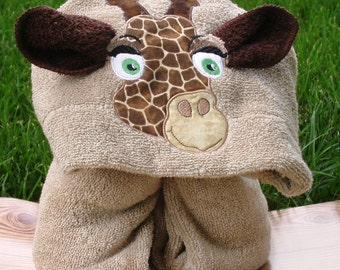 Hooded Towel with giraffe machine appliqued