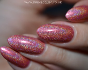 Bare Grace Misery - Coral holographic indie nail polish (12ml)