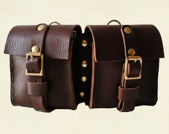 Hand Crafted Leather Double Belt Pouch