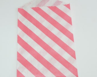 "2.75"" x 4"" Very Small Paper Bags Pink Diagonal Stripes on White Kraft  (20)"