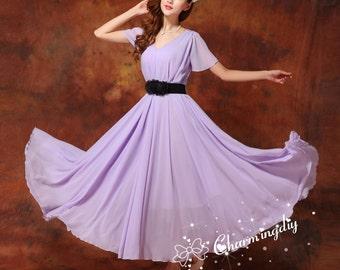 60 Colors Chiffon Light Purple Long Party Dress Short Sleeve Evening Wedding Sundress Summer Holiday Beach Dress Bridesmaid Maxi Skirt