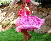 Girls summer pink dress, Girls pink polka dot dress, Girls casual wear, Toddler polka dot dress, Toddler pink dress