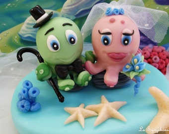 Large Blue Fondant Octopus Cake Topper