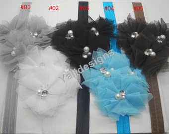 U Pick Wholesales 3 Mesh Flowers Headband Baby Headbands. Pearl Newborns Headbands. Girl's Headband YTH30